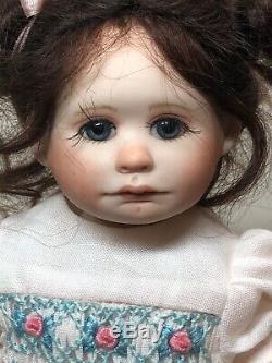 7.5 Artist Doll Porcelain Ellie By Gail Creech No. 1 Of 5 Brunette Girl COA S