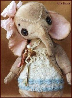 Alla Bears artist Antique Vintage Elephant Teddy Bear doll OOAK baby