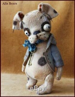 Alla Bears artist OOAK Halloween art doll Puppy teddy bear decor
