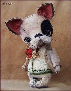 Alla Bears artist Old Antique Puppy Bear art doll OOAK boy pet decor toy unique