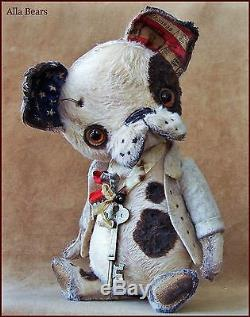 Alla Bears artist Old Antique Puppy art doll OOAK boy pet decor