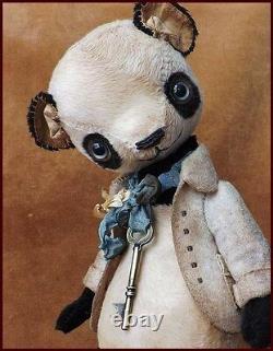 Alla Bears artist Old Antique Vintage Panda Teddy bear doll toy home decor fun