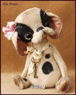 Alla Bears artist baby girl Puppy dog modern nursery office decor Boston Terrier