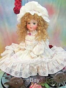 Antique repro SFBJ Bisque BEBE doll 22 BATISTE dress LACE bonnet ARTIST signed