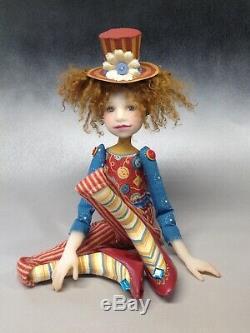 Artist Doll Auburn Hair Top Hat Freckles Red Shoes OOAK