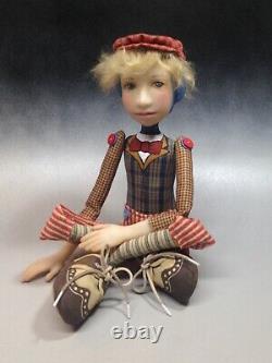 Artist Doll Boy By Dianne Adam Blond Hair Freckles Big Shoes OOAK
