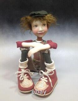 Artist Doll Boy By Dianne Adam Brown Hair Big Shoes OOAK