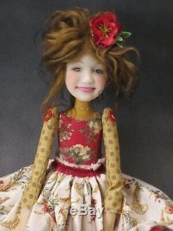 Artist Doll Brown Hair Red Shoes OOAK