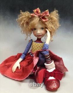 Artist Doll By Dianne Adam Blond Hair Freckles Big Shoes OOAK