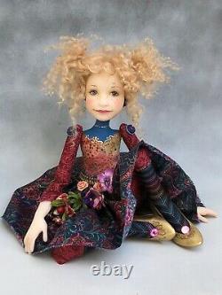 Artist Doll By Dianne Adam Blond Hair Freckles Flower Halo OOAK