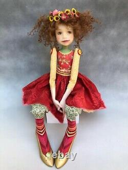 Artist Doll By Dianne Adam Brown Hair Freckles Flower Halo OOAK