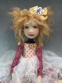 Artist Doll By Dianne Adam Golden Blond Hair Freckles Big Shoes OOAK