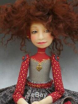 Artist Doll Dark Red Hair Freckles Red Shoes OOAK