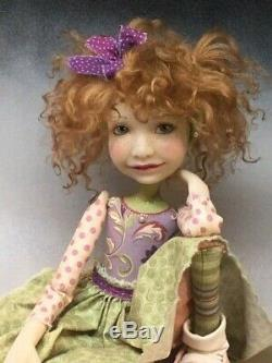 Artist Doll Red Curly Hair Freckles Big Shoes OOAK