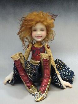 Artist Doll Red Hair Freckles Gold Shoes OOAK