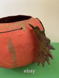 Artist OOAK JOL Halloween Pumpkin Lantern Paper Papier Mache Jack Roads 2010