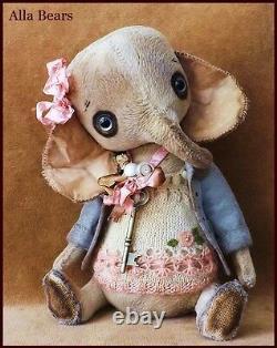 Bears artist Antique Vintage Elephant Teddy Bear doll OOAK baby