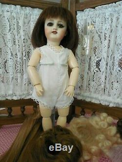 Bleuette Doll 301 Antique French Doll Reproduction-4 wigs-artist Dawn J