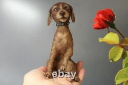 Dollhouse Miniature felted Dog OOAK Drathaar dog toy