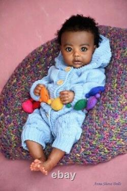 Ethnic Reborn baby boy lifelike art doll by prototype artist Anna Sheva IIORA