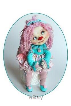 Handmade Cloth Doll Art Artist Fantasy Clown Ruby OOAK