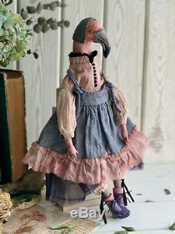 Handmade Interior Toy Teddy Gift Bird Doll OOAK Flamingo Art Clay Fabric Boudoir