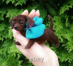 Labrador Retriever Dog Felted Realistic Miniature Sculpture Pet by Yana Fedorova
