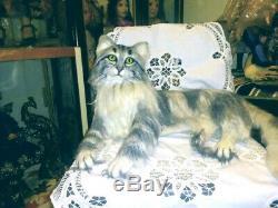 Life Size Ooak Longhair Tabby Cat Artist Petra Klebach -belvintas