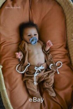 Lifelike Ethnic Reborn baby art doll Adalyn by Prototype artist Anna Sheva