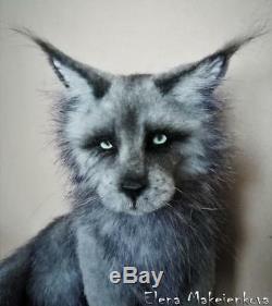 Maine Coon Cat Silver Star Ooak Artist handmade by Olena Makeienkova