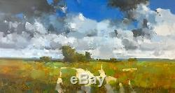 Meadow Path, Large Size Original Oil painting, Handmade artwork, One of a kind