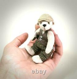Miniature handmade artist dressed teddy bear Archie by Boyatt Wood Bears