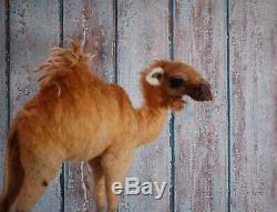 Needle Felted Brown Camel Desert Nativity Animal Wool Art Sculpture Decor
