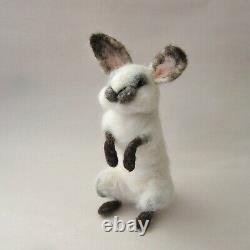 Needle Felted Bunny Rabbit 7 Handmade Animal Sculpture Art by Tamara