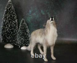 Needle Felted Howling Gray Wolf Woodland Forest Animal Wool Art Sculpture Decor