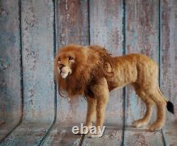 Needle Felted Lion Big Cat African Safari Animal Wool Art Sculpture