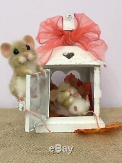 Needle Felted Mouse Bubble & Squeak Handmade Mice Doll Teddy Ooak By Suzanne
