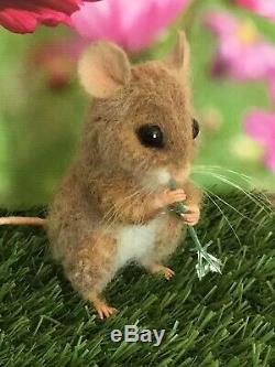 Needle Felted Mouse CUSTOM ORDER animal Handmade Mice Teddy Ooak By Suzanne