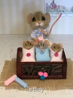Needle Felted Mouse Lou & Triplets Handmade Ooak Mice Gift Teddy By Suzanne