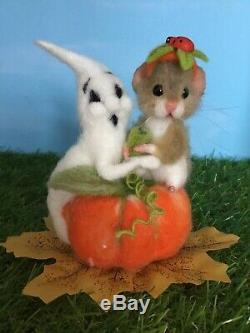 Needle Felted Mouse Truffles Ghost Halloween Teddy Mice Ooak By Suzanne