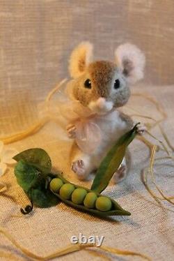 Needle felted mouse teddy animals, by Jljuda, handmade