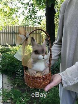 Needle-felted-wool-handmade-OOAK-Rabbit in a basket