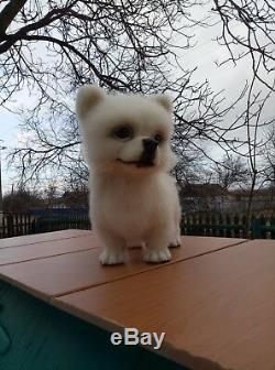 Needle-felted-wool-handmade-OOAK-White Spitz puppy