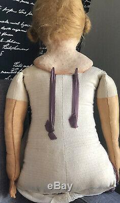 OOAK 36 Papier-mâché  Artist Doll Painted Face Original Antique Clothes
