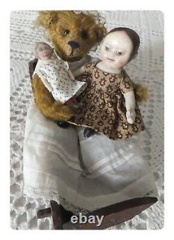 OOAK Artist Repro Izannah Walker & Art Fabric Mills Dolls /Teddy Bear & Cradle