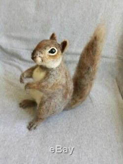 OOAK Needle Felted Realistic Looking Lifesize Gray Squirrel By Tatiana Trot