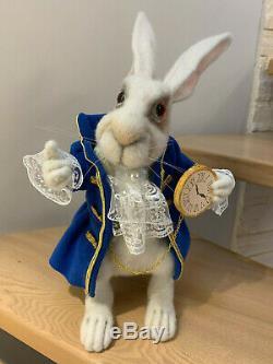 OOAK Needle Felted White Rabbit Alice in Wonderland Sculpt Bear