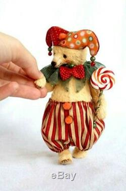 OOAK Original Hand Sewn Collectors Artist Bear Jester Clown Teddy Bear 1/1