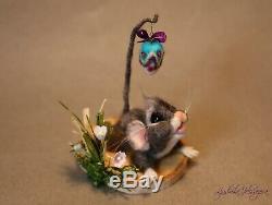 OOAK needle felted mouse, teddy animals by Jljuda