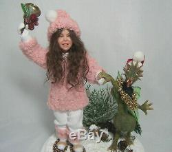 Ooak Snow Girl With Dragon Artist Original Pgm Sculpting